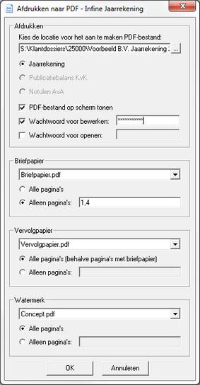 Hoe maak ik een PDF bestand van de jaarrekening met eigen